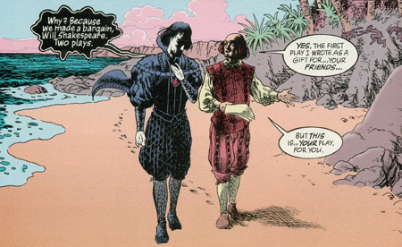 Sandman conversando com William Shakespeare