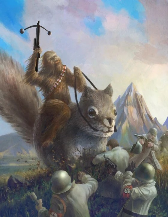 Chewbacca Riding a Squirell fighting Nazis