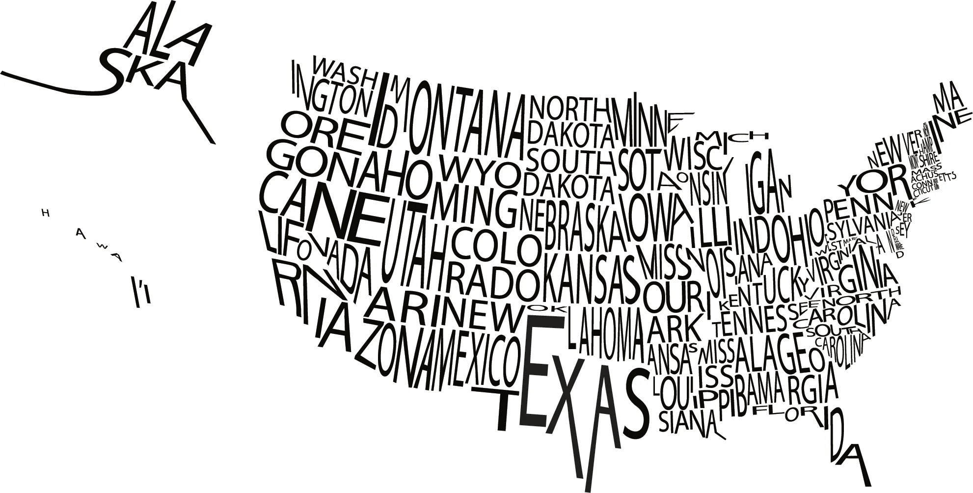 A Typographic Map Of The Us