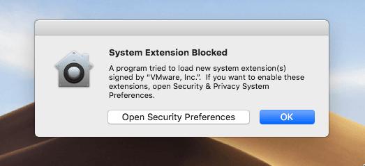 System Extension Blocked Error