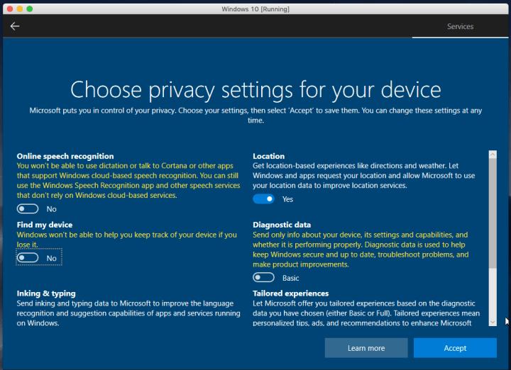 Choose Privacy Settings