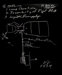 An early sketch of Skylab, by George Mueller.