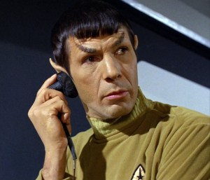 Spock with wired earpiece