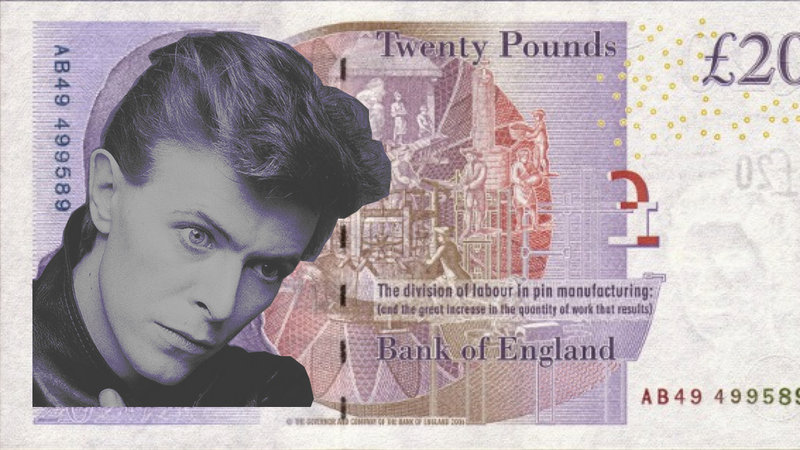 David Bowie on British 20 pound note