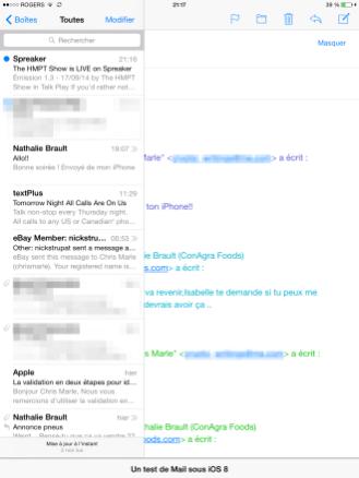 Un email en composition mis de côté pour accéder à d'autres emails