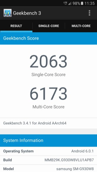 Samsung Galaxy S7 - Geekbench 3
