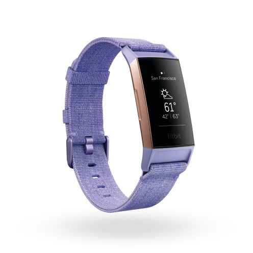 Product render of Fitbit Charge 3, 3 quarter view, showing weather