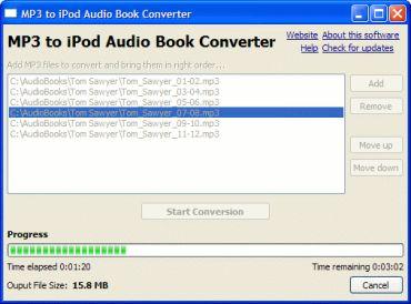 MP3 to iPod audio book converter