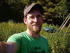 Shea Gunther on his land in Maine