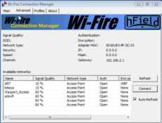 List of available access points with the Wi-Fire wireless adapter