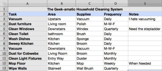 house cleaning pricing spreadsheet