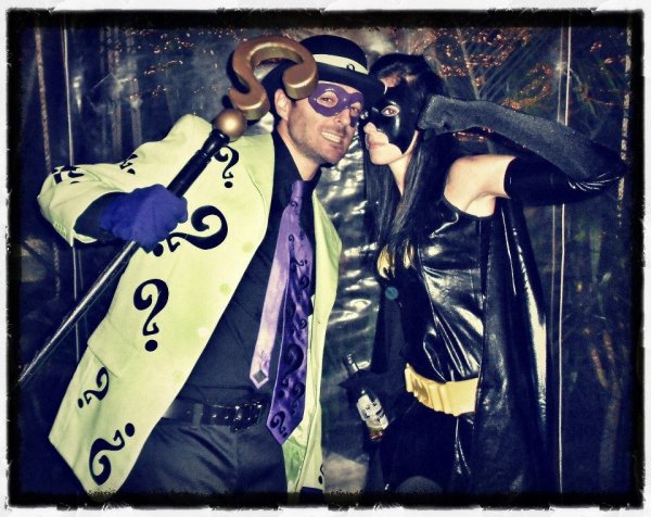 Jared and Friend as The Ridler and Batgirl