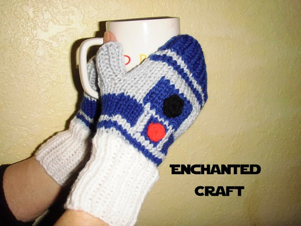 Knitted R2 D2 Gloves And Beanie Hat