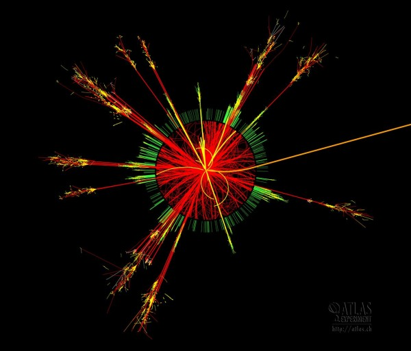 ATLAS Collision Events All of the following images represent the same event. In some theories, microscopic black holes may be produced in particle collisions that occur when very-high-energy cosmic rays hit particles in our atmosphere. These microscopic-black-holes would decay into ordinary particles in a tiny fraction of a second and would be very difficult to observe in our atmosphere. The ATLAS Experiment offers the exciting possibility to study them in the lab (if they exist). The simulated collision event shown is viewed along the beampipe. The event is one in which a microscopic-black-hole was produced in the collision of two protons (not shown). The microscopic-black-hole decayed immediately into many particles. The colors of the tracks show different types of particles emerging from the collision (at the center).