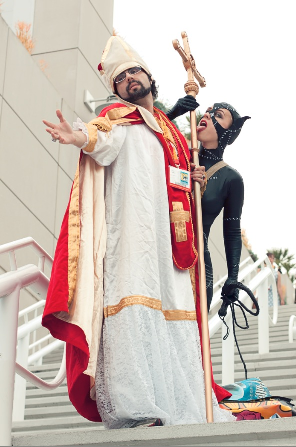 San Diego Pope + Catwoman - Hayley Sargent - San Diego Comic-Con 2012