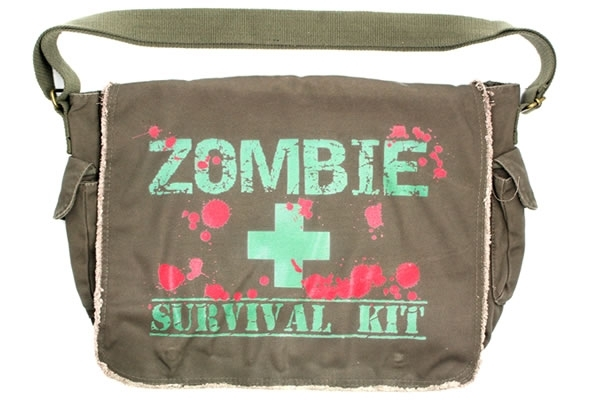 Pic  Zombie Survival Kit Messenger Bag The Zombie Apocalypse is almost  upon us 059eff2e8b475
