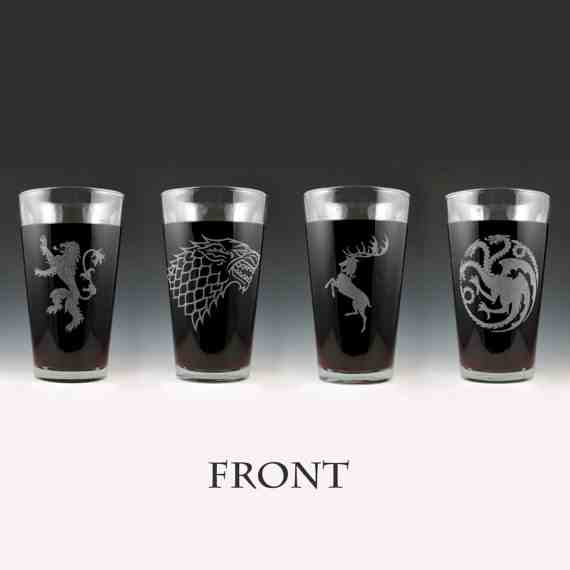 Game of Thrones Pint Glasses (Front)