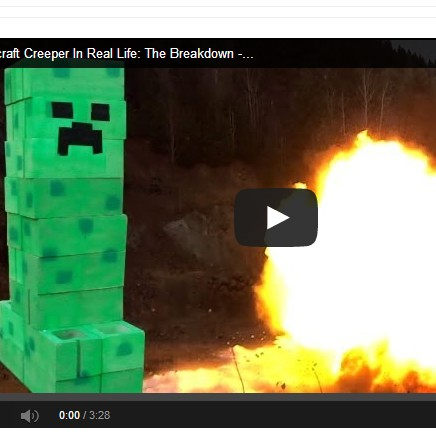Real Life Minecraft Creeper Goes Boom Video