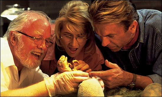"Attenborough, Laura Dern, and Sam Neill in ""Jurassic Park."""