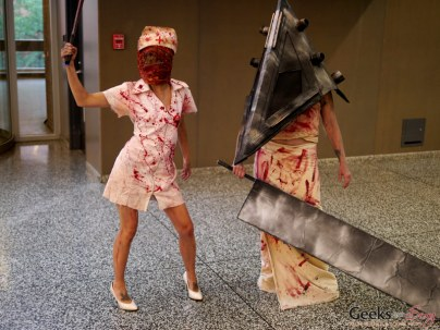 Silent Hill Nurse and Pyramid Head – Montreal Comic Con 2014 – Photo by Geeks are Sexy
