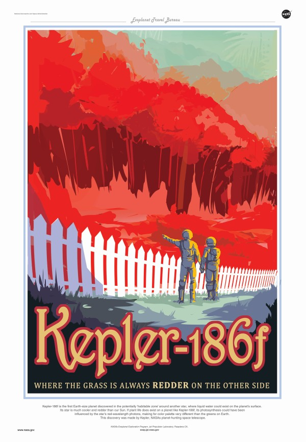 Kepler-186f is the first Earth-size planet discovered in the potentially 'habitable zone' around another star, where liquid water could exist on the planet's surface. Its star is much cooler and redder than our Sun. If plant life does exist on a planet li