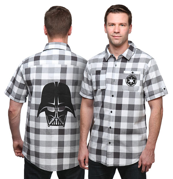 73223372 Darth Vader and Captain America Plaid Button-Down Shirts