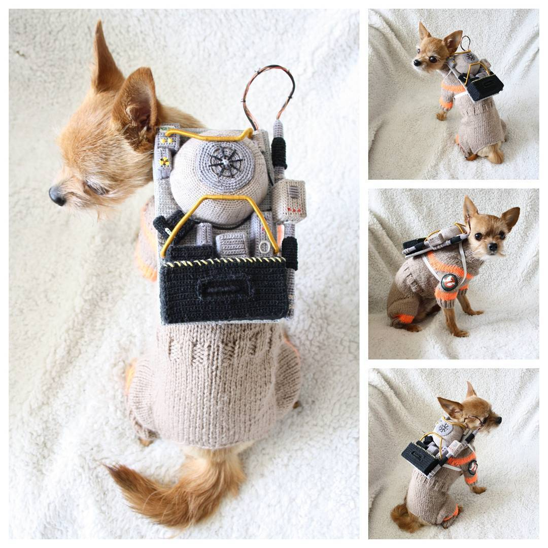 Studio likes to create costumes for her dog and for one of her recent creation she decided to crochet and knit a Ghostbusters costume for her little ...  sc 1 st  Geeks Are Sexy & Crocheted and Knitted Ghostbusters Dog Costume [Pics]