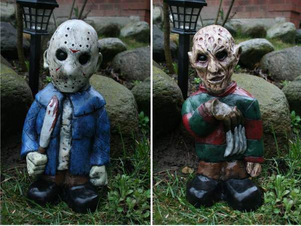 these horror movie garden gnomes are perfect for halloween