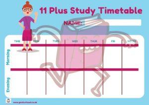 11 Plus Timetable