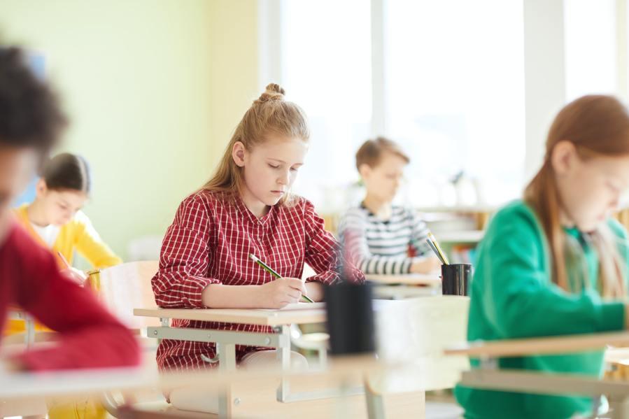 School children filling test blank at exam