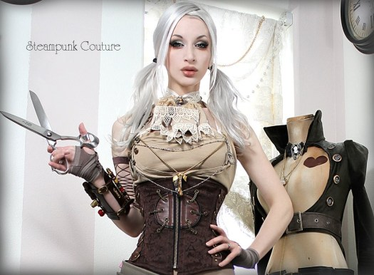 Kato from Steampunk Couture holding her shears