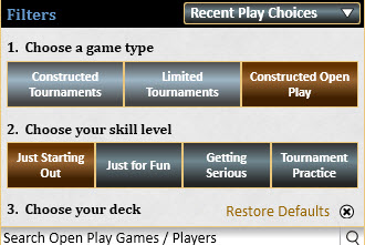 Magic the Gathering Game Selector