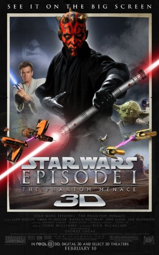 Star Wars Movie Poster for Episode 1: The Phantom Menace in 3D
