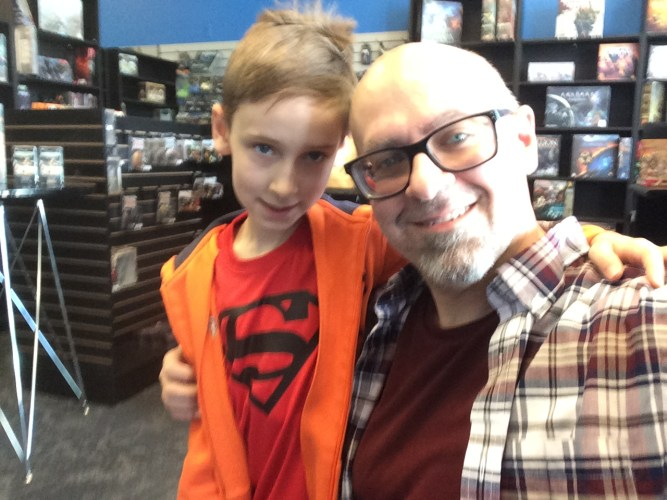 Father and Son at Magic the Gathering Prerelease Event