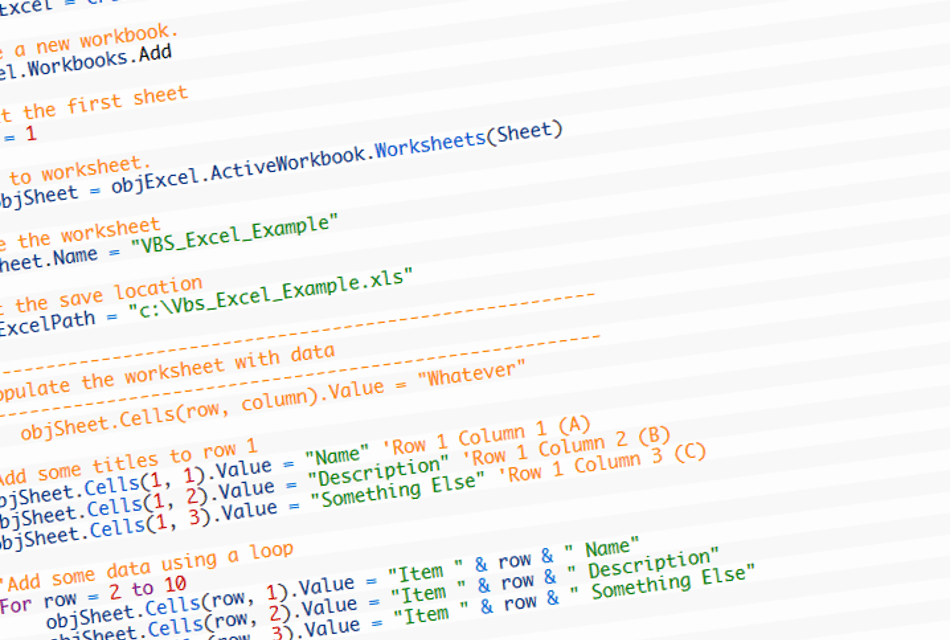 An example of using a VBS script to create, populate and format an ...