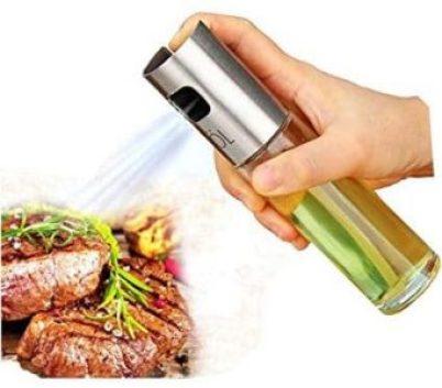 Zorbes Silver Stainless Steel Olive Oil Spraying Bottle Vinegar Sprayer list of kitchen items
