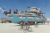 Only at Burning Man will you see a boat in the middle of the desert