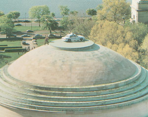 Aerial view of the campus police car on top of the Great Dome