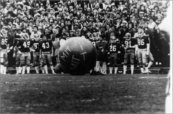 Buried weather balloon rises from ground during Harvard-Yale football game