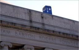 Dr. Who TARDIS on top of building