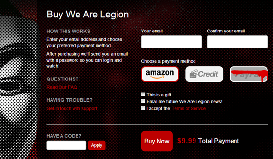 We are Legion: the Story of the Hacktivists purchase screen