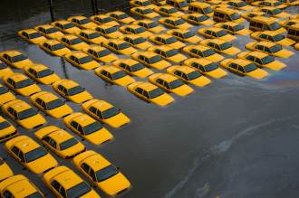 Taxi cabs underwater