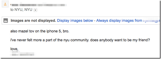 Accidental ReplyAll email to NYU students
