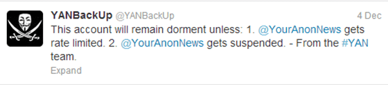This account will remain dorment unless @YourAnonNews gets rate limited or gets suspended