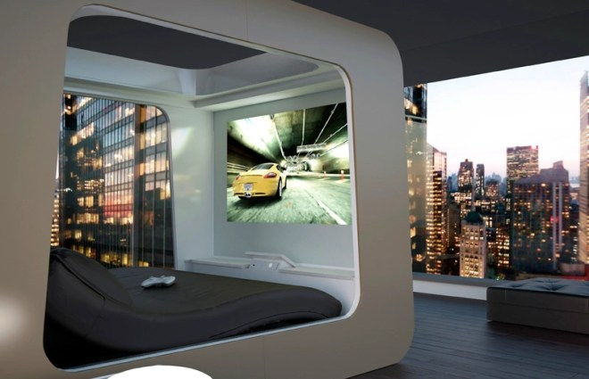 Bed with built in entertainment system