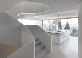 Concrete staircase of dinosaur-head house