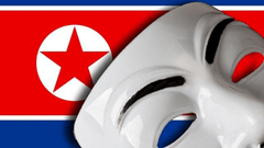 Anonymous mask over North Korean flag
