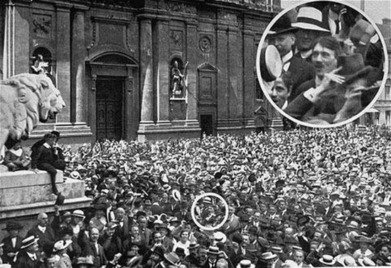 Hitler in the crowd cheering the declaration of World War I