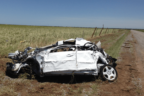 The battered remains of Tim Samaras storm chase vehicle