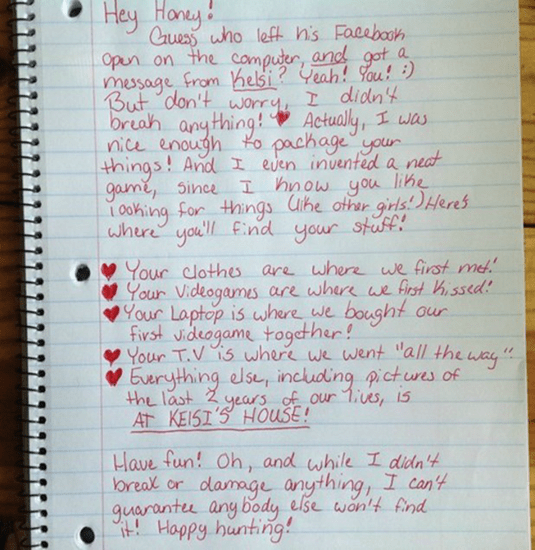 Funny letter from girl to her cheating ex-boyfriend